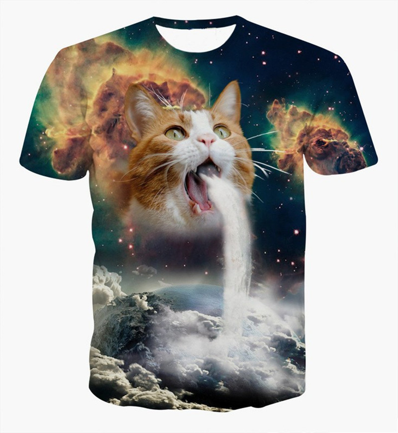 aa8450ee7 Solar Kitten T Shirt Cat Vomiting A Waterfall Onto Earth Vibrant 3d ...