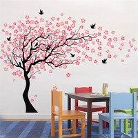 ציפורים עץ פריחת דובדבן ורודה גדולה וול המדבקה ויניל אמנות מדבקות תינוקת Kindgarten תפאורה סלון חדר שינה קיר דקורטיבי