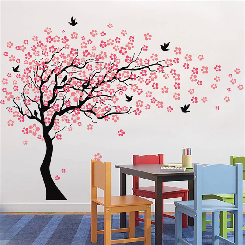 Us 29 1 28 Off Large Pink Cherry Blossoms Tree Birds Wall Sticker Vinyl Art Decal Babys Bedroom Living Room Decor Kindgarten Decorative Mural In