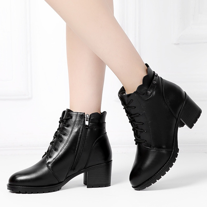DRKANOL 2019 laine naturelle hiver chaud femmes bottes de neige en cuir véritable bottines femmes chaussures imperméables épais talons bottes - 3