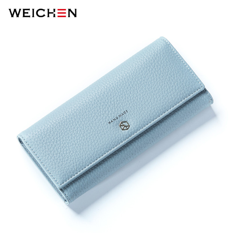 WEICHEN New Style Long Wallets Women Hasp Solid Wallet with Coin Phone Pocket Brand Designer Female Purse Credit Card Holder Bag mini in ear hearing aids prices in india s 11a spy ear amplifier for the listening difficulty people