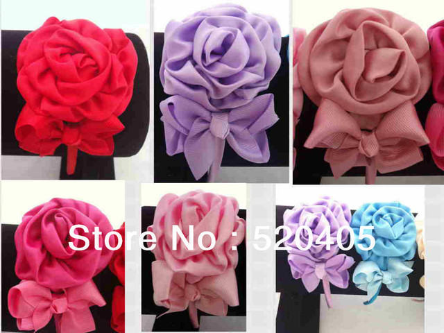 Baby Girls Fabric Rosette flower with Mini Satin bow hair band ...