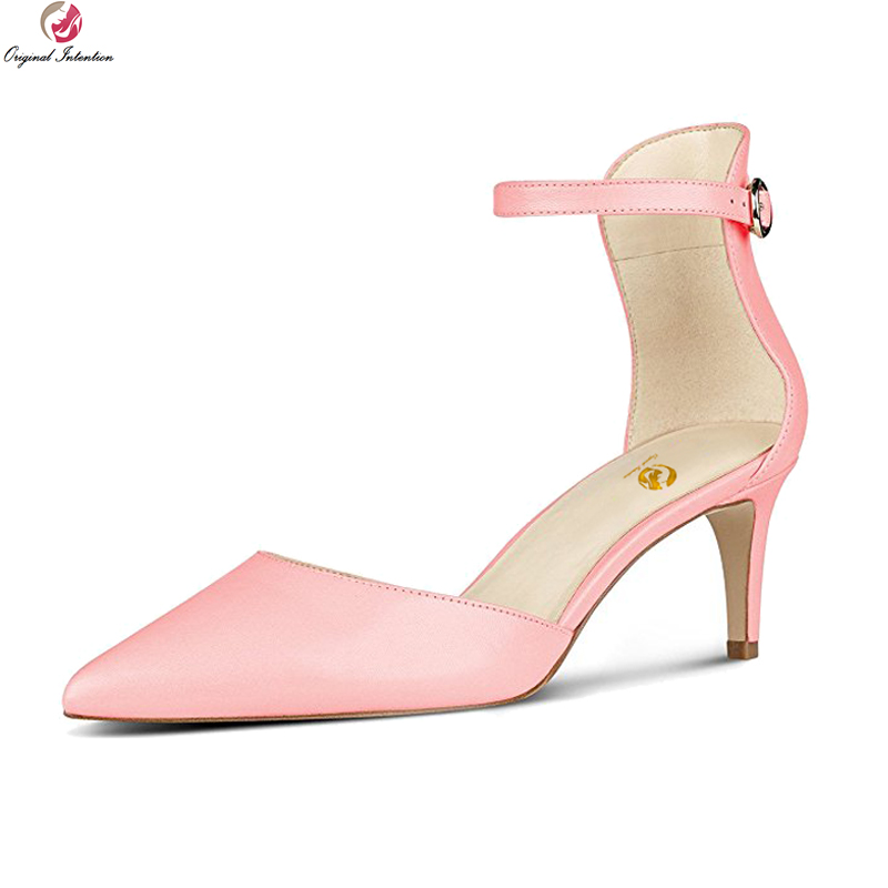 Original Intention New Fashion Women Sandals Pointed Toe Thin Heels Sandals White Pink Nude Yellow Shoes Woman Plus US Size 4-15 original intention super fashion women sandals pointed toe thin heels sandals black grey nude pink shoes woman plus us size 4 15