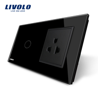 Livolo Touch Switch US Socket Black Crystal Glass Panel 110 250V 13A US Wall Socket With