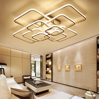 High Brightness Modern Led Ceiling Lights For Living Room Bedroom Square Circle Rings Avize Ceiling Lamp