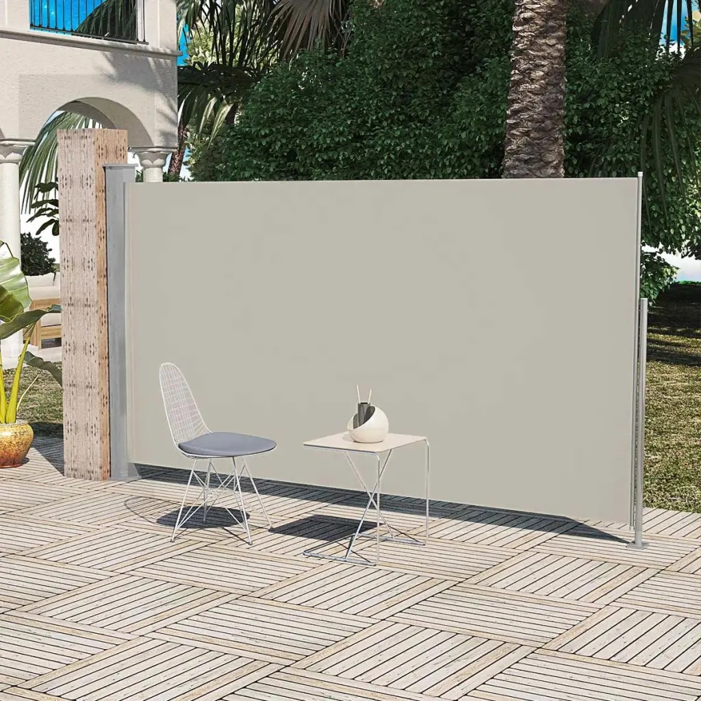 Vidaxl 180X300 Cm Resistente AI RAGGI UV Patio Terrazza Laterale Tenda Cream Colour Outdoor Accessori Per Mobili Automatico Roll-Back tenda
