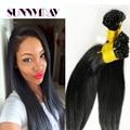 Sunnymay Hair Brazilian Virgin I Stick Tip Human Hair Extensions Straight 1.0g*100 Strands Platinum Pre Bonded Keratin Hair