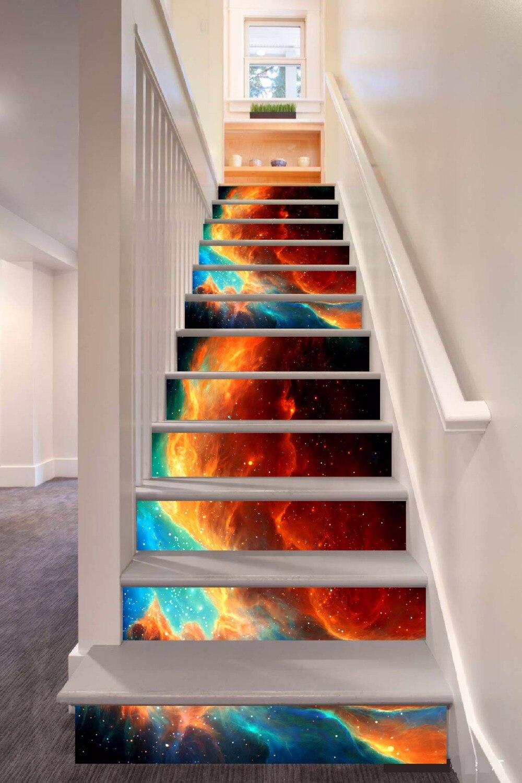 6pcs/set 18cm X 100cm Beautiful Dream Flame Pattern Style Stair Sticker Wallpaper LTT040