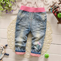 Fast High Quality Children Clothing 2016 Korean Fashion Cute Cotton Princess Jeans Pants  Baby Girls Clothes Autumn&Winter