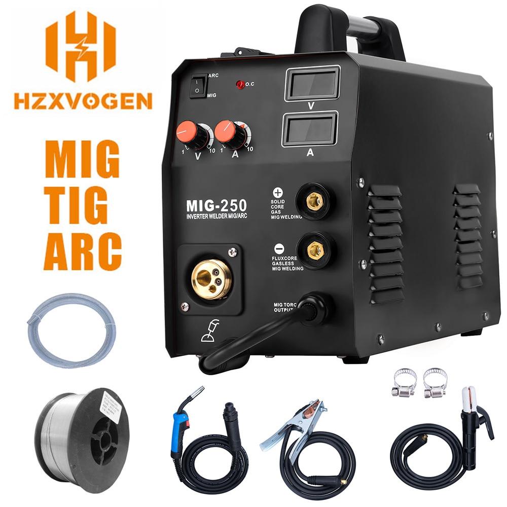 HZXVOGEN recién llegado soldador Mig MIG250 MIG TIG ARC soldador de Gas sin Gas 220V Mig máquina de soldadura 3 en 1