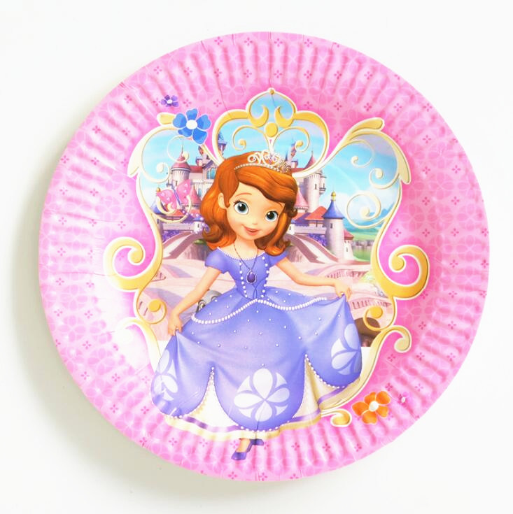 10pcs/bag Sofia <font><b>Princess</b></font> <font><b>Party</b></font> Supplies Plates Cartoon Theme <font><b>Party</b></font> For Kids Happy Birthday Decoration Theme <font><b>Party</b></font> Supplies image