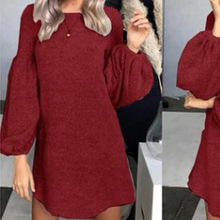 2019 autumn and winter new womens large size sweater dress knit bottoming shirt