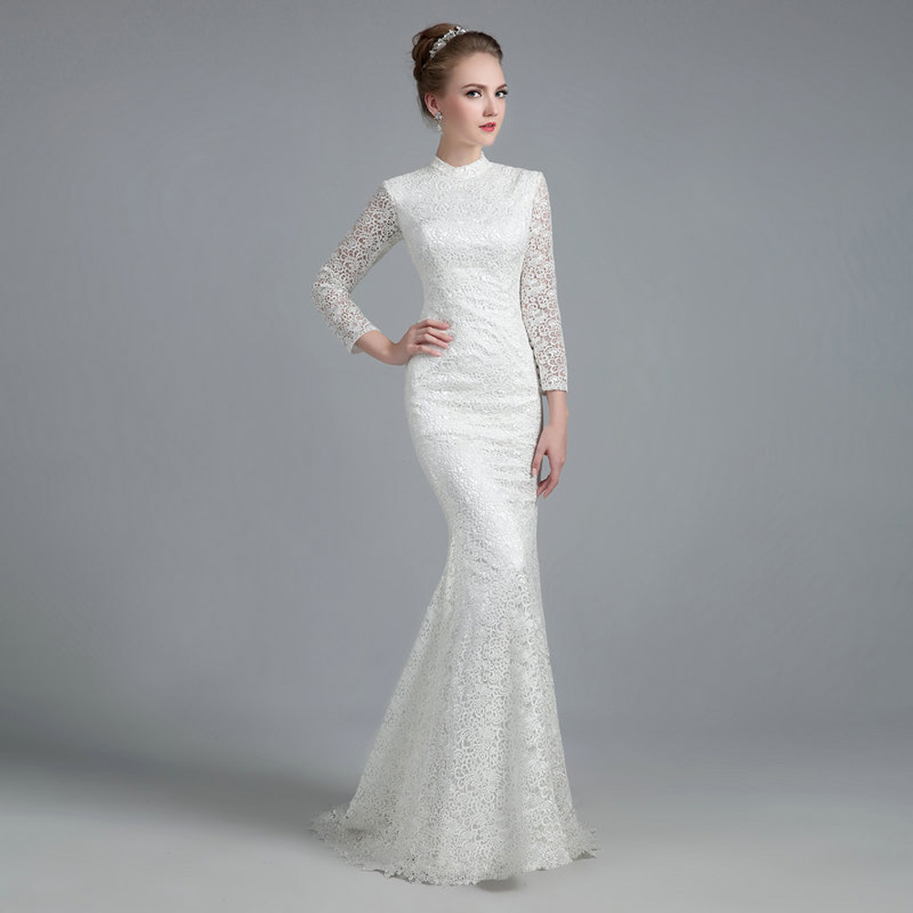 E JUE SHUNG White Vintage Thick Lace Mermaid Wedding Dresses 2018 ...