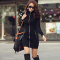 2016 Fashion Clothing Autumn Winter Jacket Women Coat Ladies Long Sleeve Pocket Zipper Solid Black Female Casual Outwear CL1192