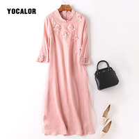 YOCALOR 100 Real Silk Chinese Style A Line Dress Floral Embroidered Women Elegant Summer Casual Dresses