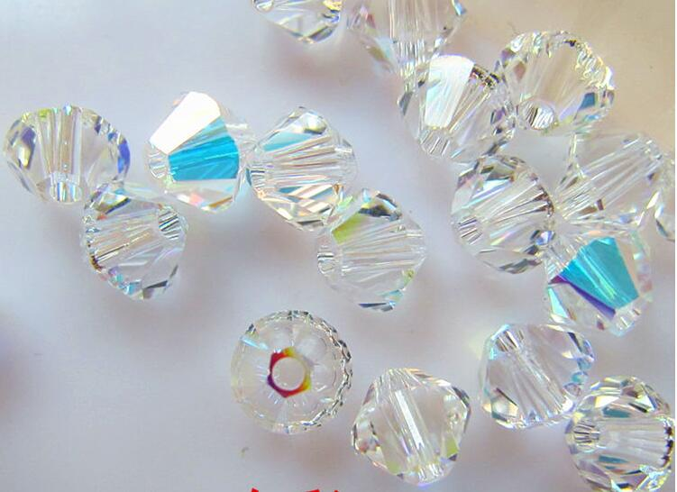 Free shipping! AAA 5301 Crystal AB color 3mm 4mm 5mm 6mm 8mm  Crystal Glass Bicone Beads.