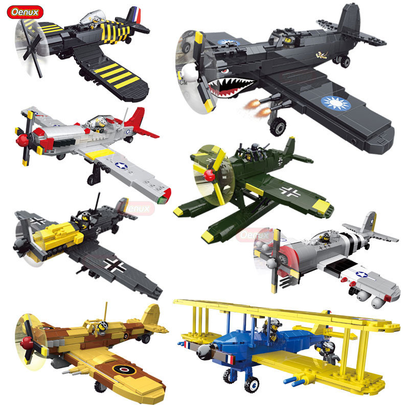Oenux New Arrival World War 2 Classic Aircraft BF-109/PT-17/ P-51/Spitfire Fighter Vehicle Military Building Block Toy For Boys oenux world war 2 united state army air forces fighter p 47 thunderbolt aircraft vehicle model military building block brick toy