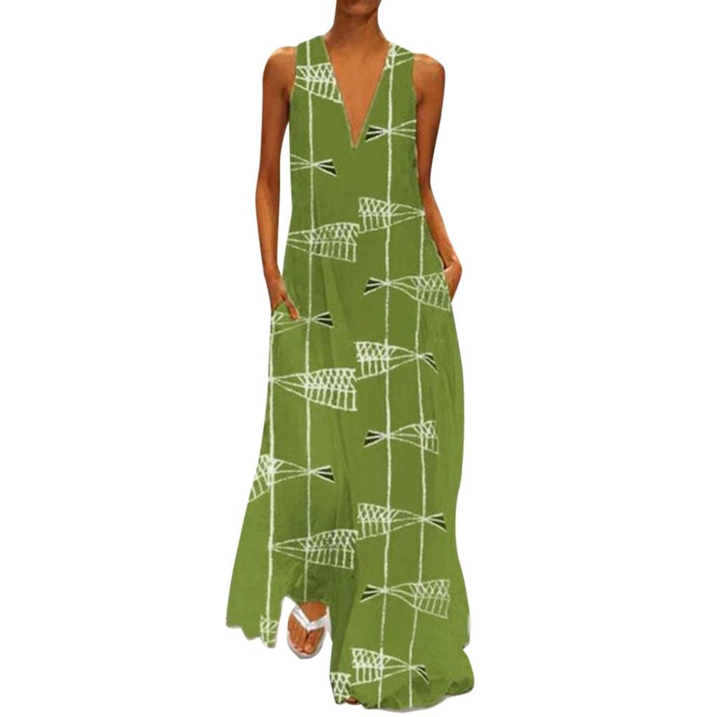 Women's Retro Daily Casual Sleeveless Print Dress Summer Beach Evening Party Simple Elegant Fashion Long V-neck Pocket Dresses