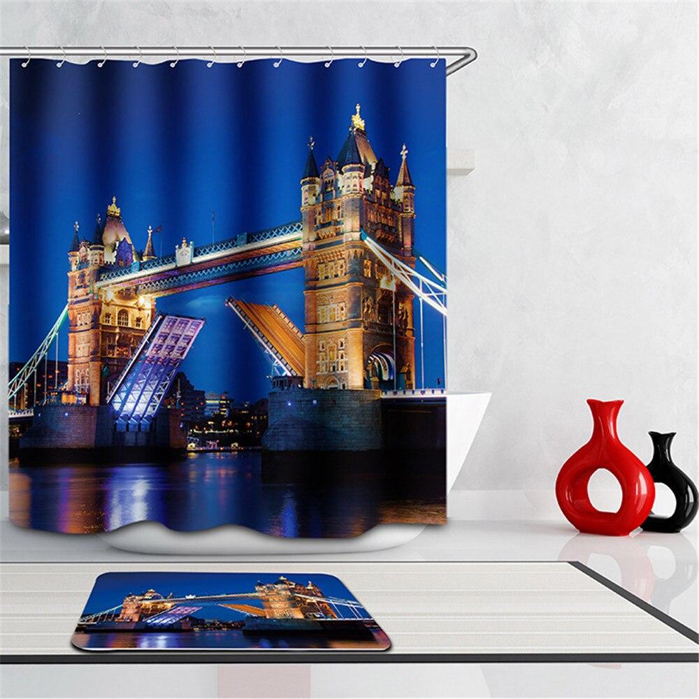 Scenery 3d Waterproof Shower Curtain London Bridge