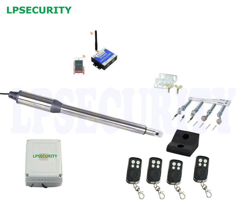 LPSECURITY 24VDC single leaf Automatic GSM Swing Gate Opener motor with 4 remote controls 1 sensor 1 lamp 1 keypad(GSM optional) automatic swing gate opener motors for 300kg gate 2 remote controls