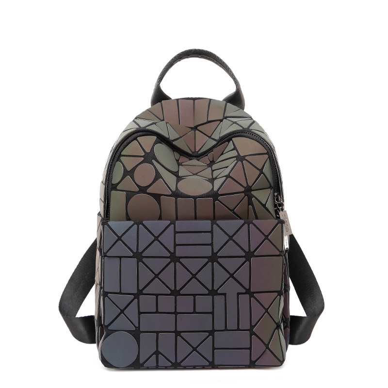Ins female backpack 2019 new spring and summer tide personality design fashion bag geometric rhombic laser
