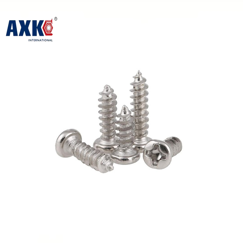 AXK 100PCS M1.7 M2 M3 stainless steel electronic screw cross recessed phillips round pan head self tapping screw