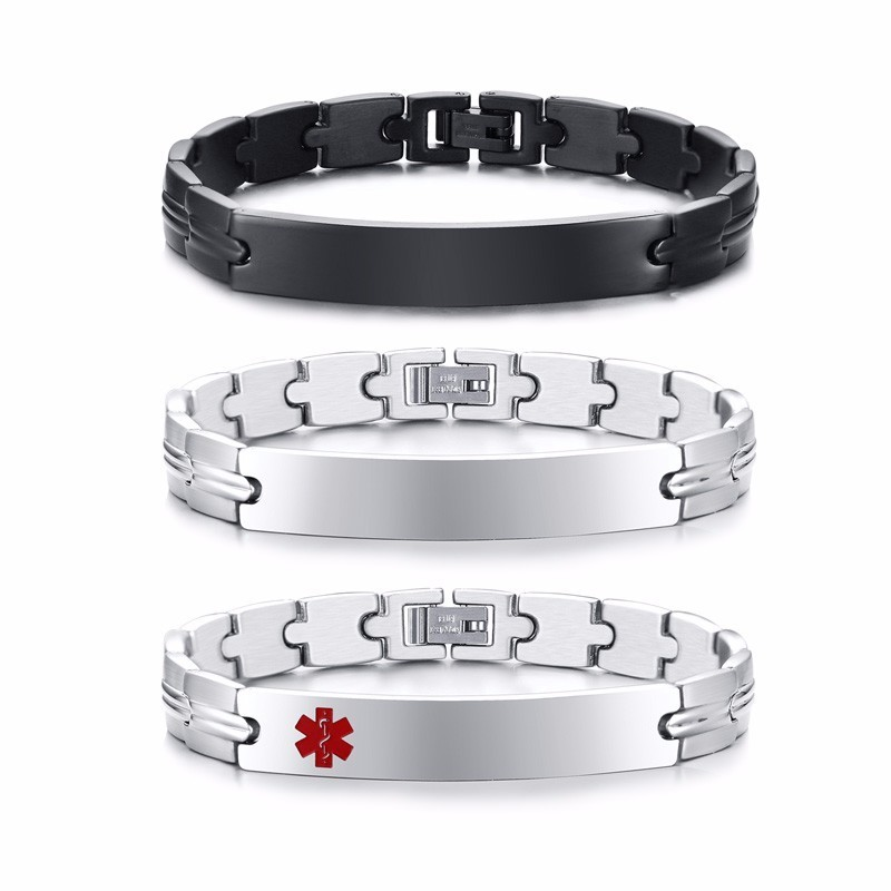 3PCS Men Stainless Steel Links Mens ID Tag Bracelet with Medical Symbols in Black Silver Tone Male Jewelry 8.46 Inches men s stainless steel tag pendant with crystal silver