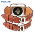FOHUAS Double Pin buckle Cuff Genuine Leather Watch Band Leather Strap for Apple Watch Series 2 38mm 42mm In Stock