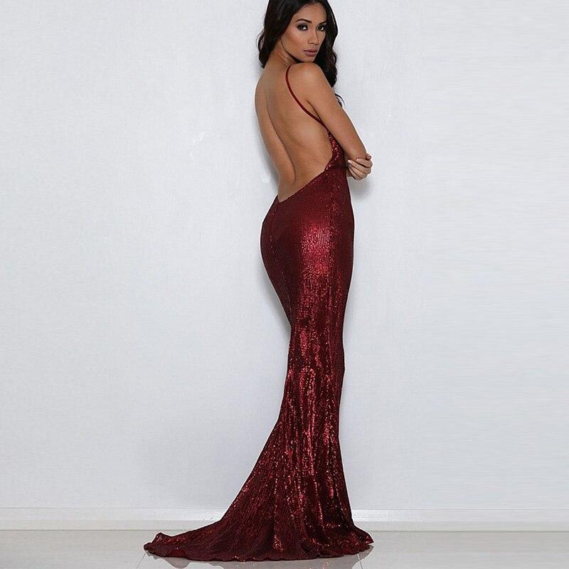 Shiny Burgundy Sequin Deep V Neck Padded Party Dress Open Back Floor Length Full Lining Stretch