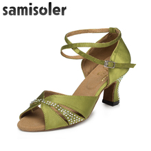 Samisole  New Cloth Collocation Shine Ribbons Ballroom Fashion Dance Women Latin Dance Competition Shoes