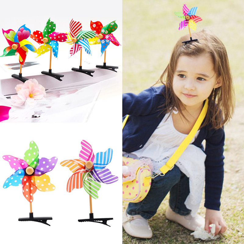 Cute Fashion Small Windmill Hair Accessories Bobbypin Travel Cute Design Toy Hairpin Girls   Headwear   1PC Gifts