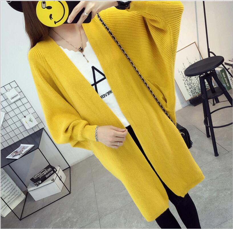 2018 autumn and winter womens new fashion solid Plus size bat sleeve cardigan sweater coat loose loose in the long section ...