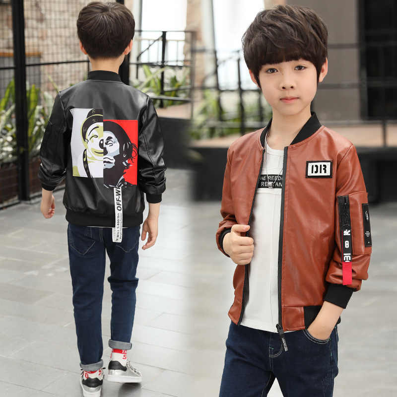 newest style of 2019 original modern and elegant in fashion 2018 boys clothes faux leather kids jackets 13 14 years old ...