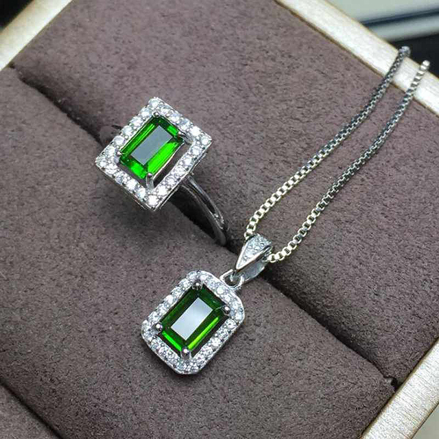 Rectangle Shape Natural Gemstone Jewelry Green Diopside White Gold Women 925 Silver Wedding Ring/Necklace Jewelry Sets YJS015