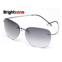 Ultra-light Rimless Women Men Non-screw Hingeless Flexble Pure Titanium Aviator-Shape UV400 Sunglasses Summer Need