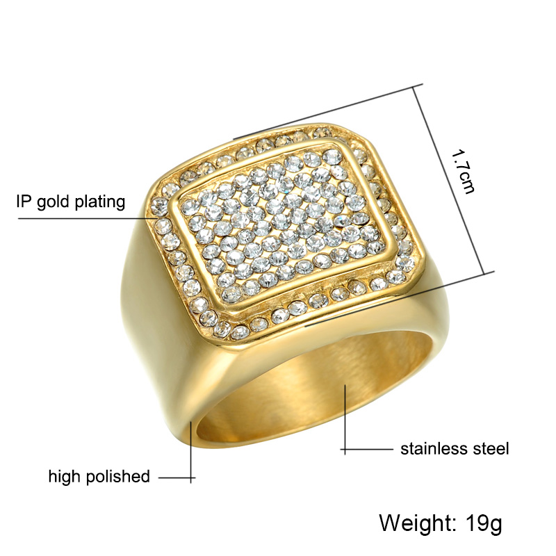 HIP Hop Micro Pave Rhinestone Iced Out Bling Square Ring IP Gold - Bisutería - foto 2