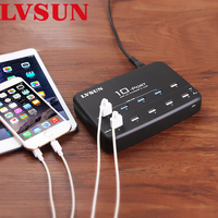 LVSUN Universal 10 Port USB Wall Charger Multi Port AC Power Adapter with USB 2.0 HUB For Tablet iPad iPhone 4 4s 5 5s 6 LS 10UA