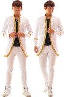 M-6XL!!! 2018 Ricamato giacca bianca Bar maschio cantante accessori di abbigliamento di moda Il cantante abbigliamento