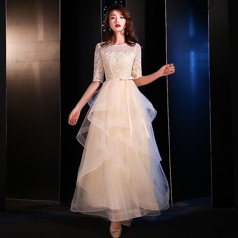 Evening     Dress   Female 2019 New Banquet Elegance Annual Meeting Party   Dresses   Half Sleeve Illusion O-neck a-line