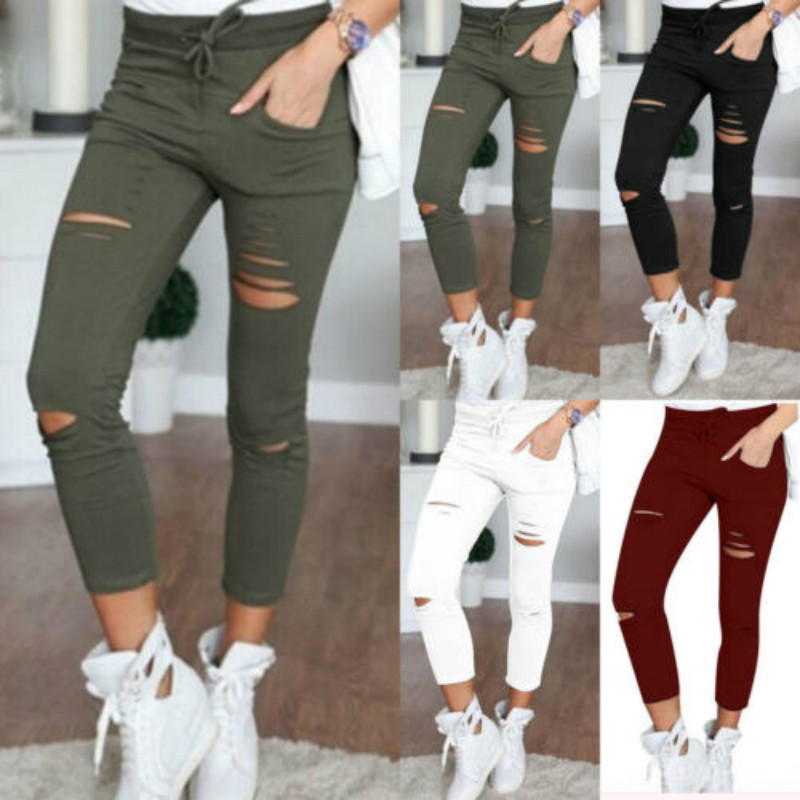 Women Skinny Hole Ripped Solid Pants High Waist Stretch Long Pencil Trousers