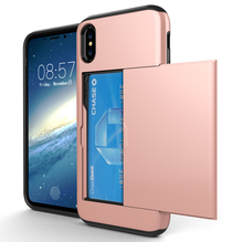 ФОТО insert credit card phone case for iphonex 8 8plus 7 7plus 6 6s 6plus 5 5s se 5c soft silicone+hard plastic shockproof cover