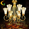 Free Shipping Full Moon Shadow Cayton Copper Lamps Full Copper Chandelier Bedroom Chandelier Living Room Lights