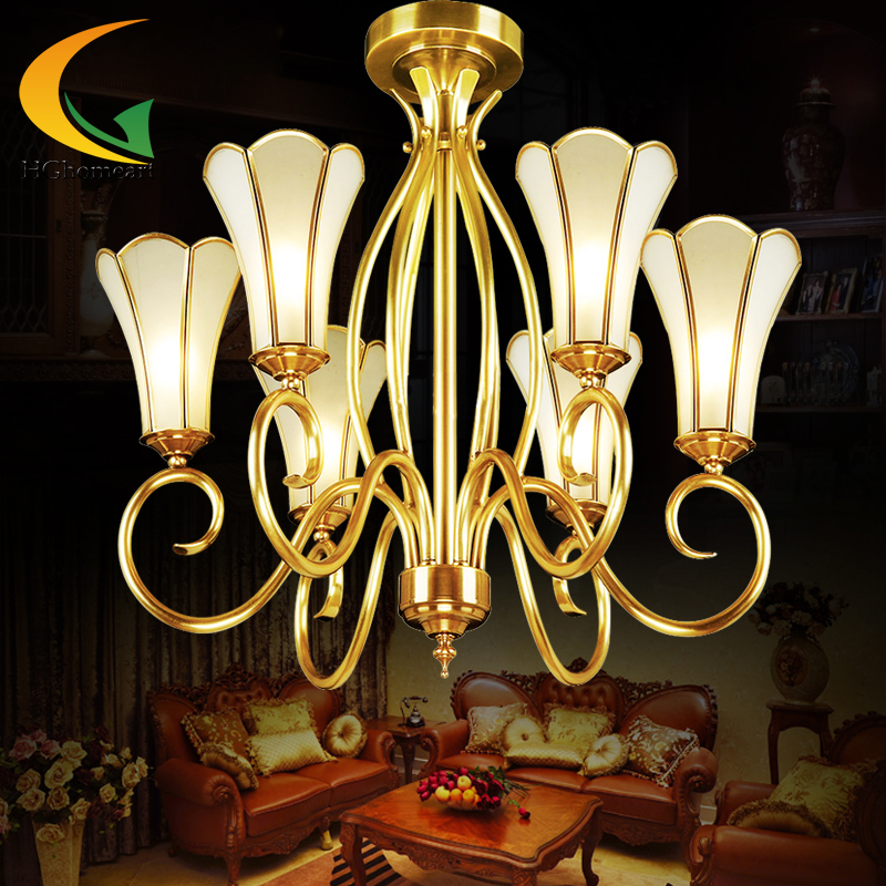 simple European chandelier ceiling copper lamps Full copper chandelier bedroom led lights  living room chandelier  E27 djb1040 full copper six head chandelier 220v