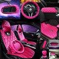 De coches de estilo de diamantes PAPÁ rosa chica tapete coche reposacabezas almohada cubierta de cambio de marchas del cinturón de seguridad cubre cubierta del volante conjunto