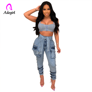 Image 5 - Hohe Taille Jeans für Frauen Schlank Stretch Denim Jean Bodycon Faux Hülse Gürtel Bandage Dünne Push Up Jeans High Street fracht Jeans