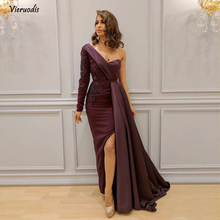 цена на 2018 Elegant One Shoulder Arabic Evening Wear lace Appliques sexy Split Side Formal Dress long Sleeves Floor Length Long Prom