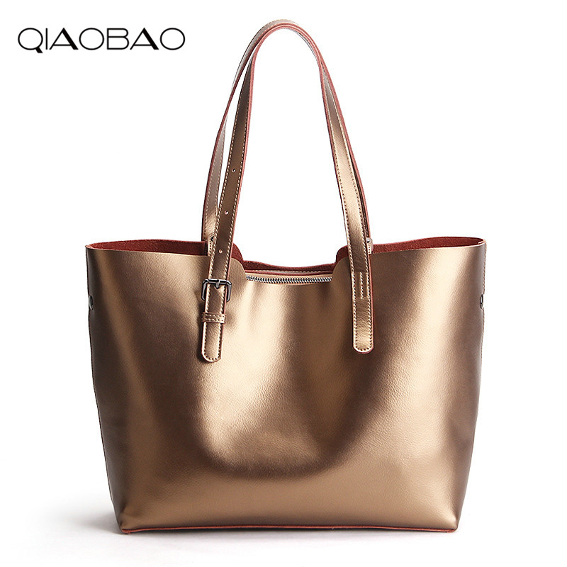 цена на QIAOBAO High quality genuine leather bags ladies cowhide totes female designer fashion big women bags crossbody sac a main
