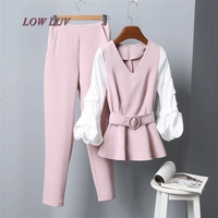Fashion Women Business Suits Formal Office Strench Suits Work Uniform Designs Women Top And Cropped Pant