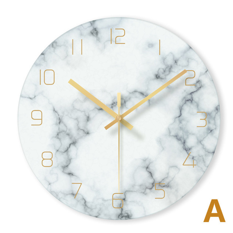 Nordic Glass Marble Texture Wall Clock Modern Minimalist Silent Art Clock Creative Living Room Fashion Clock
