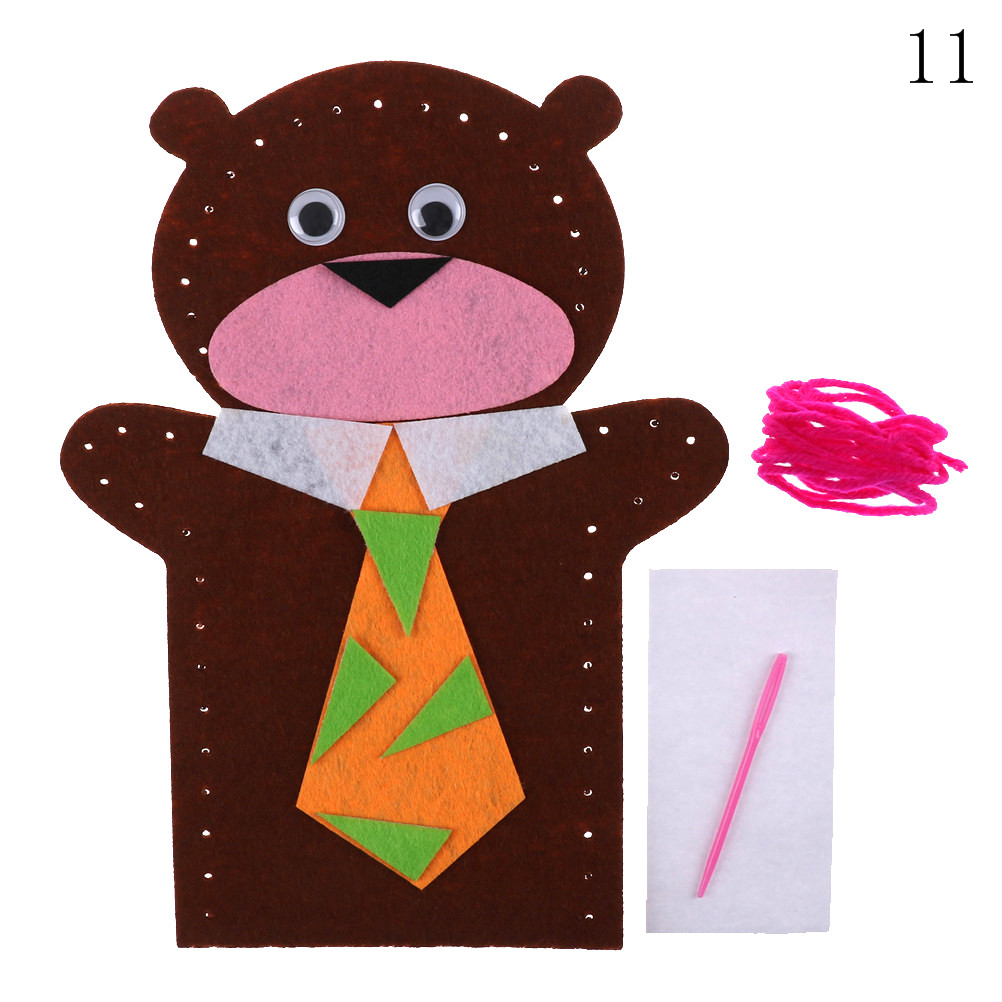 3D Non-Woven Cloth Animal EVA Puzzle DIY Easy Crafts Hand Puppet Kids Child Creative Activity DIY Sewing Toys